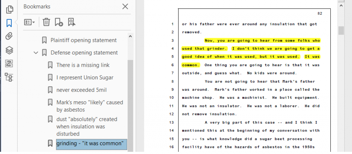 annotated trial transcript showing quote of grinding was common